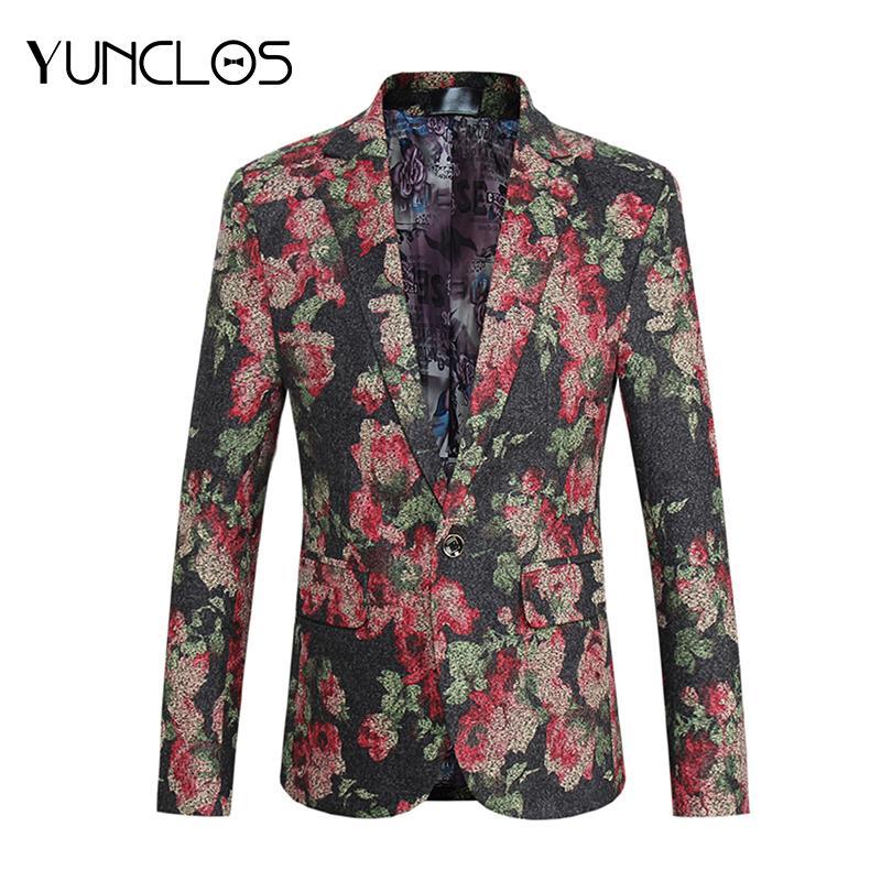 YUNCLOS 2018 floreale stampato vestito degli uomini giacca singolo bottoni vestito del partito giacche casual da uomo festa di nozze slim fit blazer