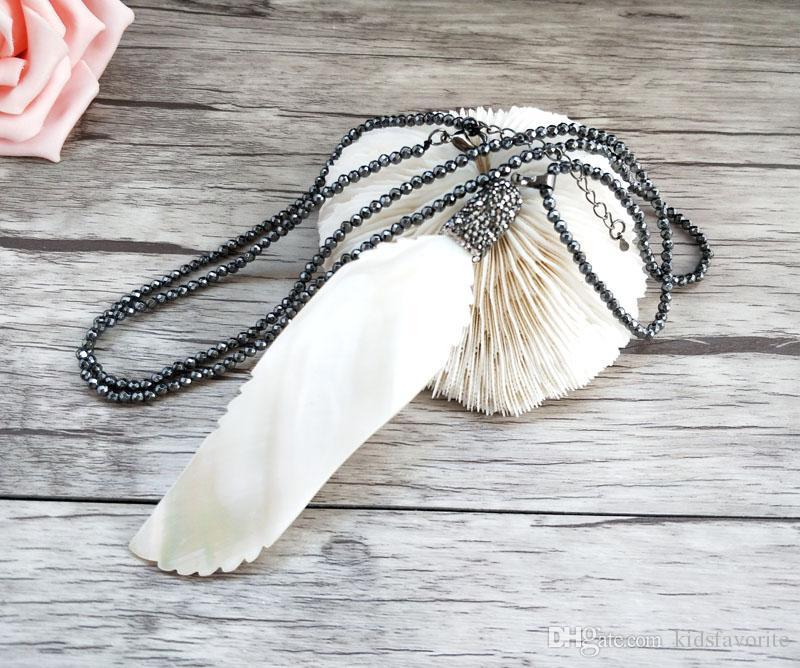 4 pcs Hematite beads Chains necklace,feather shape shell Charms With Crystal Rhinestone Pendant Jewelry necklaces NK299