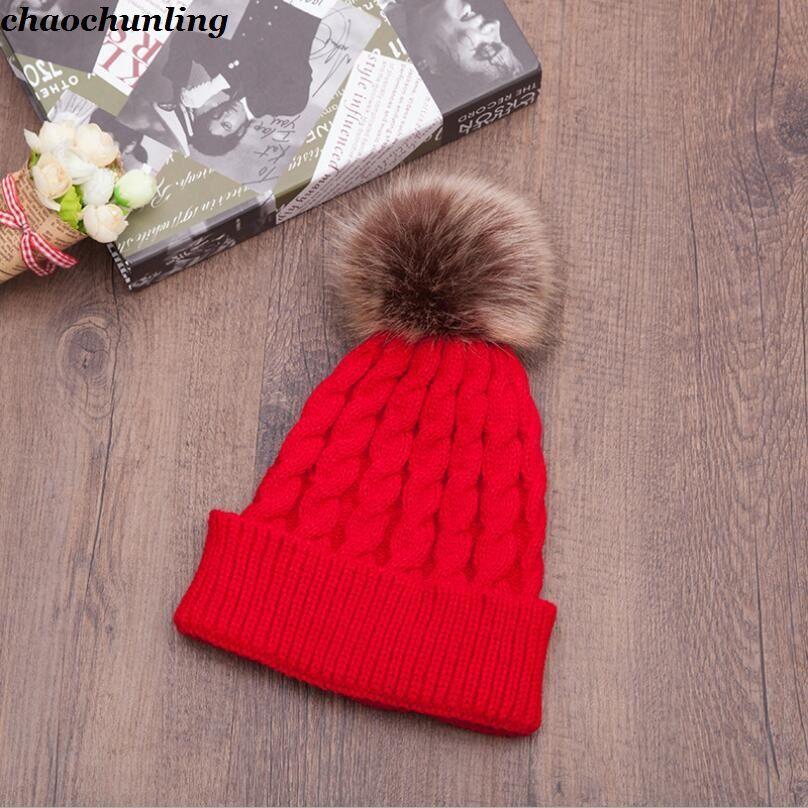 Avrupa ve Amerika 2018 Yeni Kış Lady Moda Kalın Şapkalar Süper Sıcak Saf Renk Kadın şapka Topu Ile