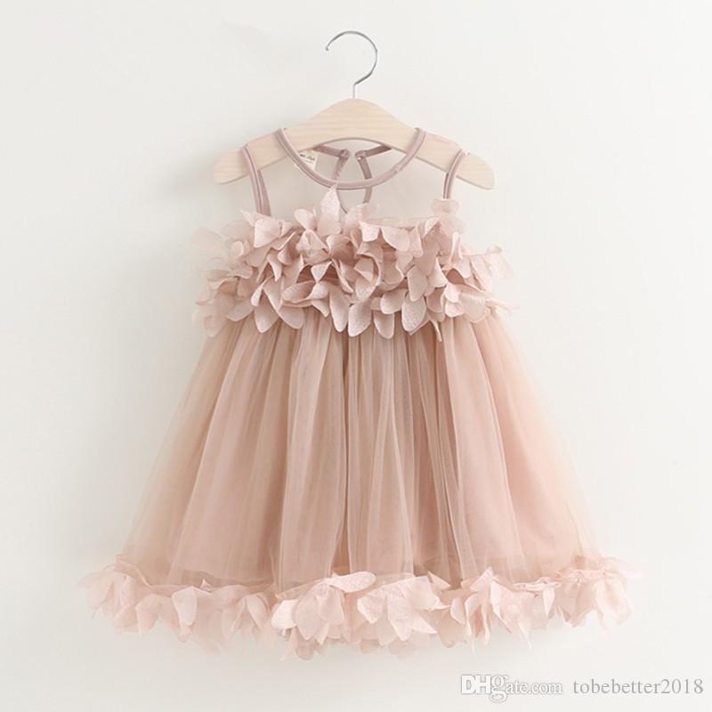 Neue süße baby kinder mädchen blume ärmellose prinzessin festzug ballkleid kleid chiffon tüll casual sommerkleid
