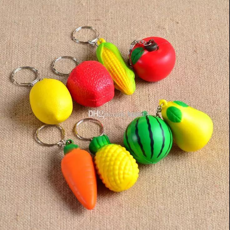 Wholesale-Soft PU Foam Ball Shape keychain toy charmTropical Fruit Mobile Chain keyring Hanging Ornament phone pendant accesso