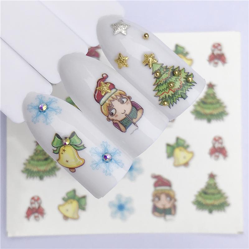FWC Новый год подарок воды передачи советы ногтей наклейки наклейки Рождество DIY декор маникюр стили