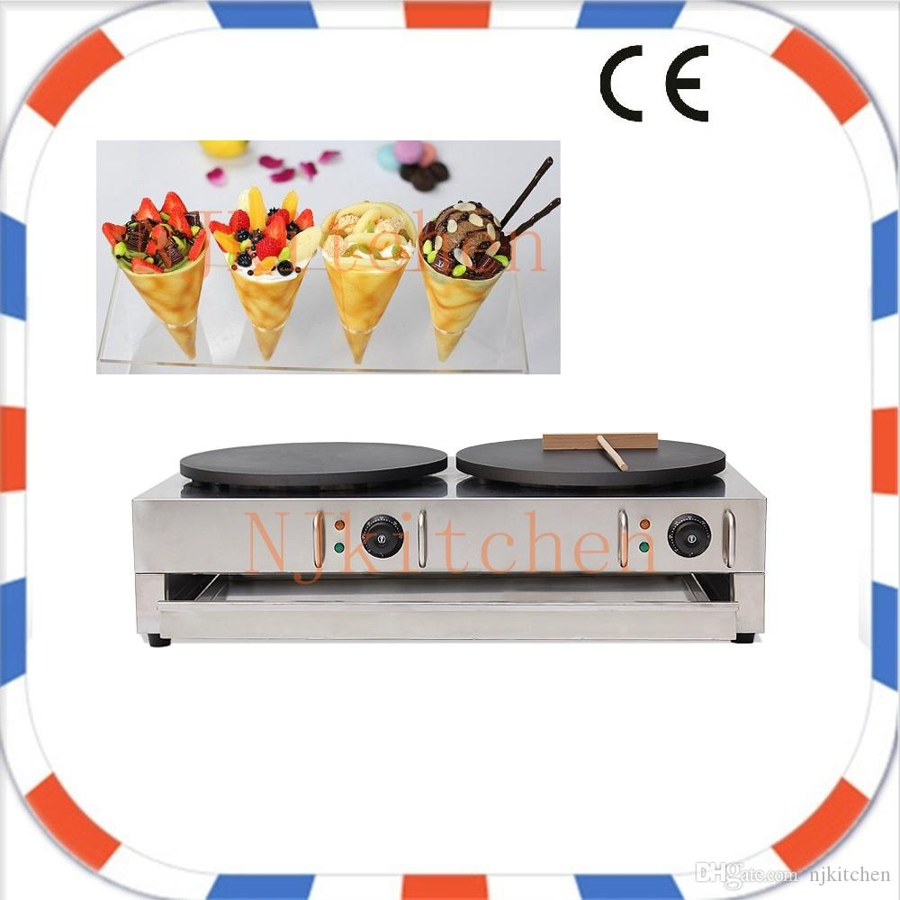 Industrial Double heads Street Pancake Electric Mini Crepe Cone Maker Making Machine Plate Cooker Mold Pan Iron With Crepe Spreader