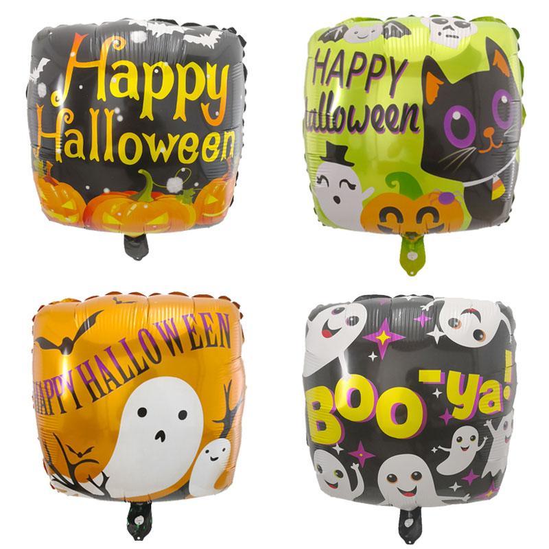 50 pçs / lote 18 polegada Halloween Foil Balloons Pumpkin Pirate Skull Black Cat Bruxa Ar Hélio Balões de Halloween Decoração Do Partido Suprimentos