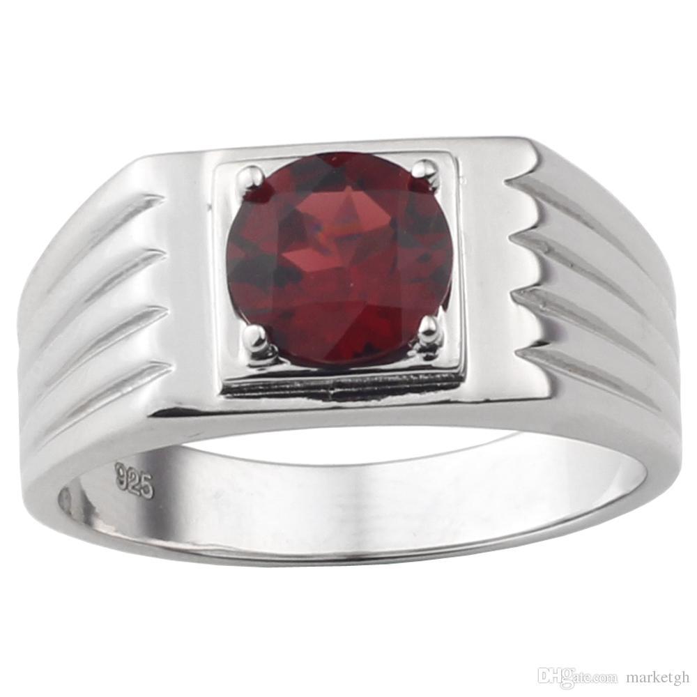 8mm naturale rosso granato uomo anello 925 gioielli in argento sterling forma rotondo forma rotonda vera pietra preziosa di cristallo gennaio torstone regalo di compleanno R516RGN