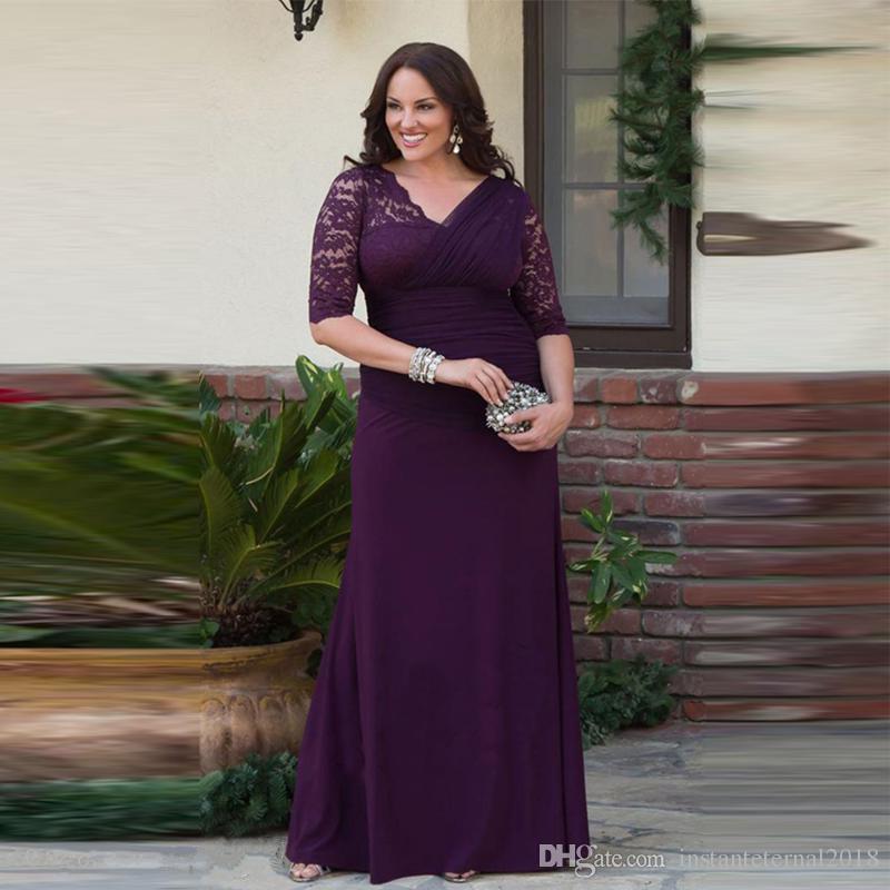 Compre Tallas Grandes Una Línea Vestidos Para Madre De La Novia Medias Mangas Encaje Gasa Mujeres Vestidos De Fiesta Vestidos Largos Para El Novio A