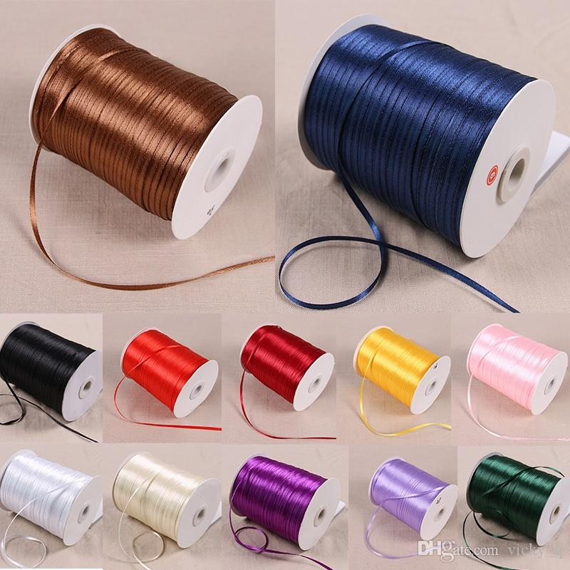 Width 3mm Colorful Silk Satin Ribbon Decoration for Party Wedding Gift Cake Flower Wrap 12 Colors 1 Roll/870yards