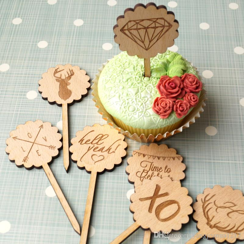 Wholesale Wood Cupcake Toppers For Cake Decoration Cake Insert Plug for Marriage Engagement Anniversary Birthday Party Cake Decor 10pcs/lot