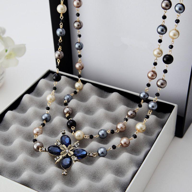 2016 Nueva Moda Caliente de Las Mujeres Accesorios de Tela Simulado Collar de Perlas Collar Colgante Largo Cruzado X041