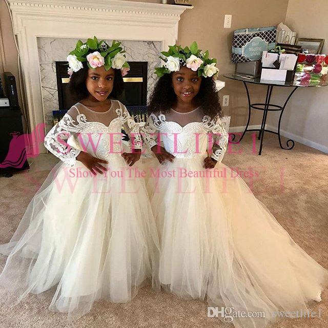 2019 Księżniczka Suknia Balowa Kwiat Dziewczyny Sukienki Długim Rękawem Aplikacje Tiulowe Zipper Back Girls Pagewant Suknia First Communion Dresses Custom