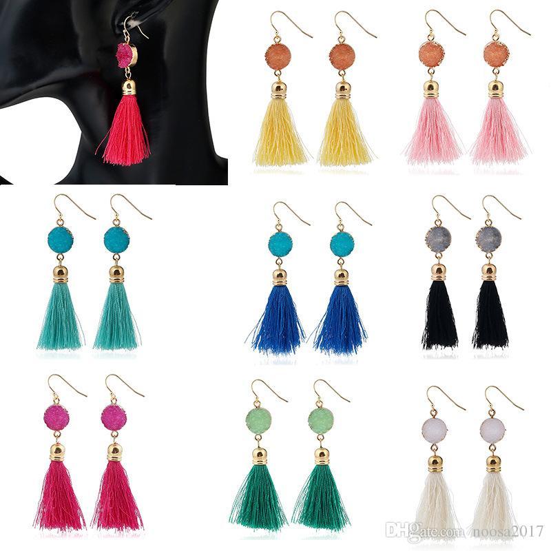 8 colori orecchini nappa goccia per le donne Fascino d'epoca nappa lunga orecchino di goccia Orecchini da sposa per le donne Gioielli di moda