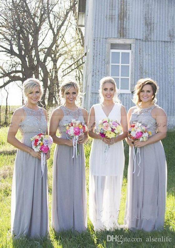 Симпатичные шифон кружевные длинные платья невесты 2018 прозрачные шеи шифон свадьба гостевые платья вечерняя одежда
