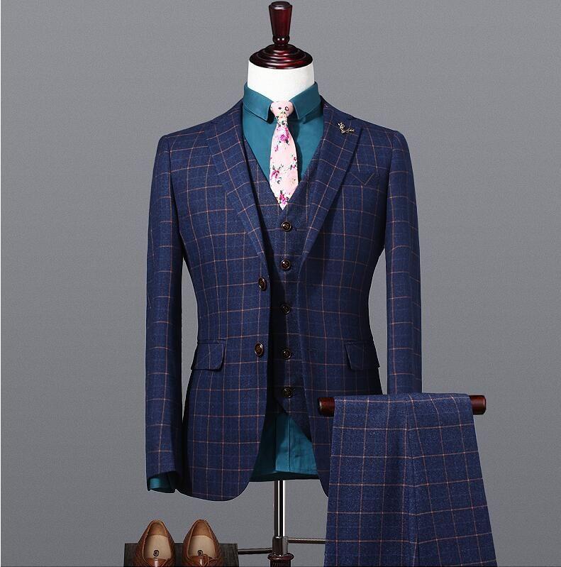 Wool Groom Wear Groomsmen Suits 2019 Modest Slim Fit Mens Business 3 Pieces Suit Jacket + Pants + Vest Men's Suits Wedding Suits Groom Ebelz