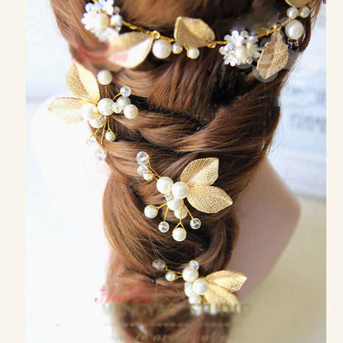 Bridal headdress Golden Leaf Hair Accessories Set White Bridal Dress Accessories Bridal Hair Accessories