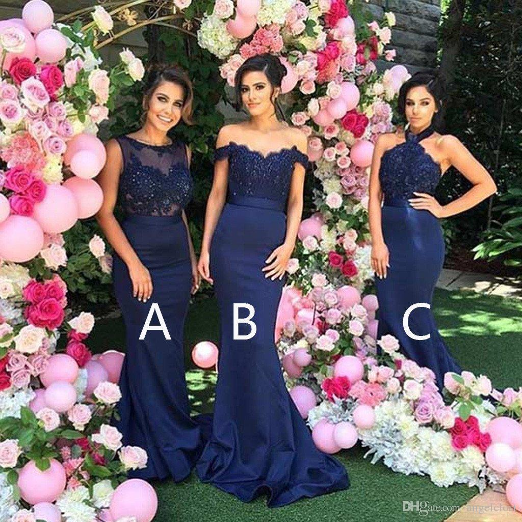 Dark Navy Mermaid Bridesmaid Dresses 2019 Lace Top Sweep Train Appliques Beaded Long Garden Country Wedding Guest Gowns Maid Of Honor Arabic