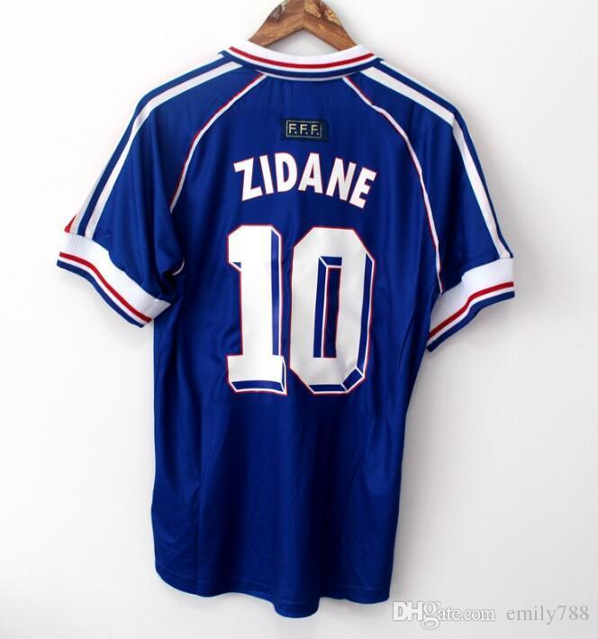 10 ZIDANE 1998 FRANCIA retro vendimia ZIDANE HENRY MAILLOT DE PIE calidad de Tailandia de los jerseys del fútbol de los uniformes de la camisa de fútbol de los jerseys de la camisa de los hombres