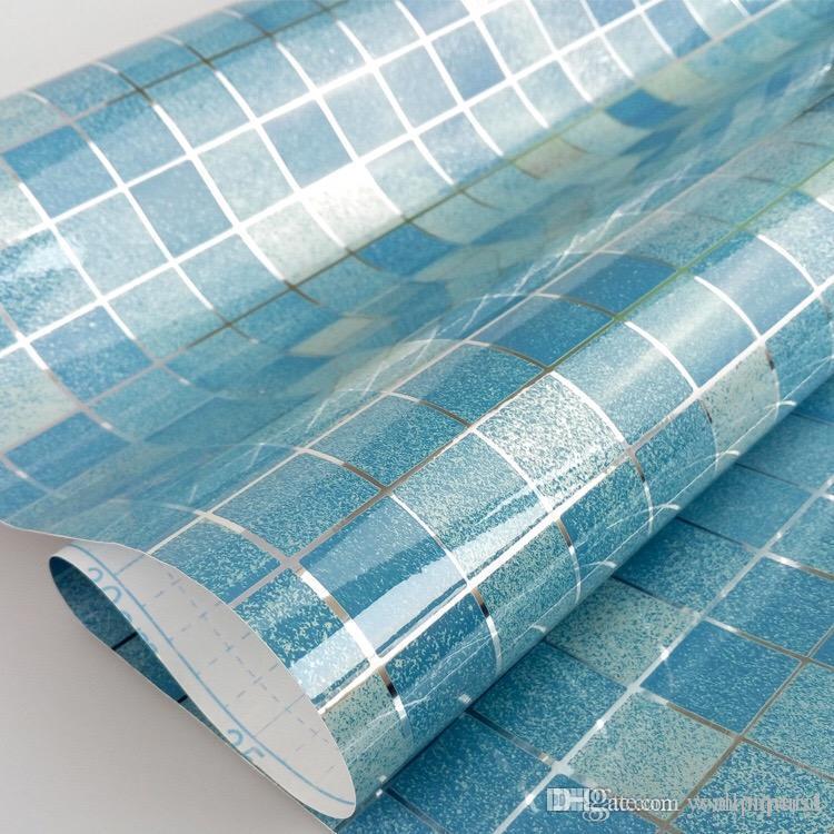 45cmX5m Bathroom wall stickers PVC mosaic wallpaper kitchen waterproof tile stickers plastic vinyl self adhesive wall papers