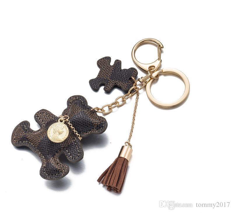 Paare Designer logoTassel Schlüsselring PU-Leder-Bären-Muster-Auto Keychain Schmuck-Taschen-Charme