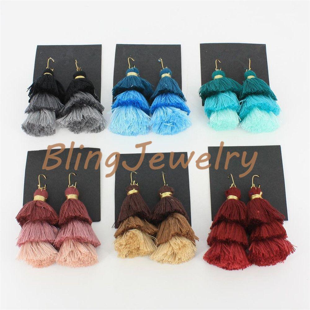 Boucles d'oreille multicolores avec pompons Boucles d'oreille superposées avec pompons 3 couches