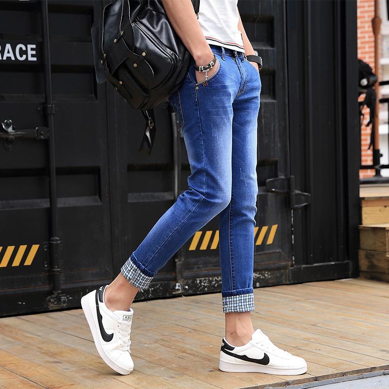 Jeans moyen décontracté pantalons pour hommes plaid poignets été bleu déchiré Jeans skinny mode masculine pantalon en jean slim fit jean jeans homme