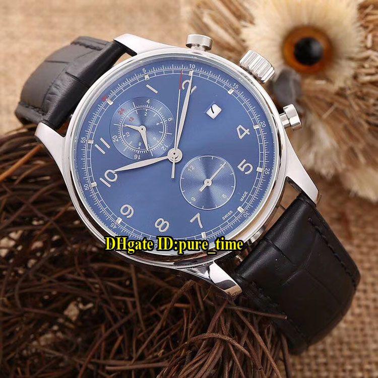 Nuevo Portugieser Fecha Cronógrafo Classic IW390406 Dial azul automático Reloj para hombre Caja de oro rosa Correa de cuero Caballeros Relojes de cronómetro