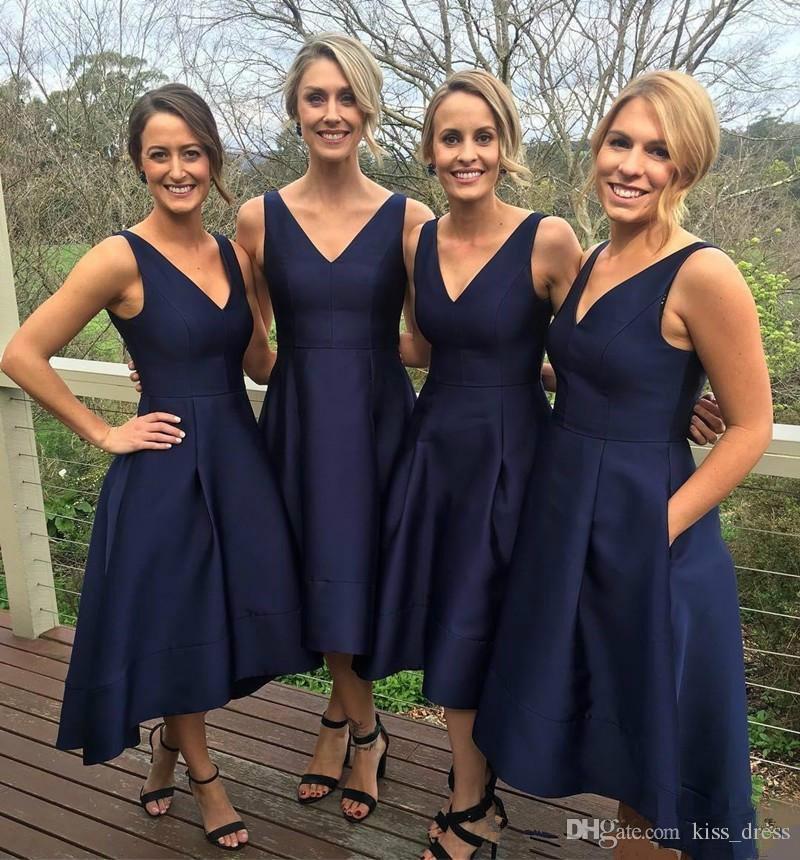 Lacivert Yüksek Düşük Gelinlik Modelleri Ile Cep Basit V Yaka Saten Kısa Akşam Parti Abiye Örgün Balo Elbise 2019 Sıcak Satış Ucuz B65