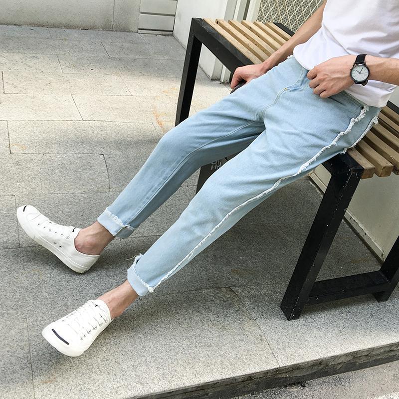 2018 İlkbahar Yeni Ürün Japon Popüler Trend Öğrenci Erkek Stretch Slim Fit Jeans Katı Renk Küçük Taze Haren Pantolon Man Tide