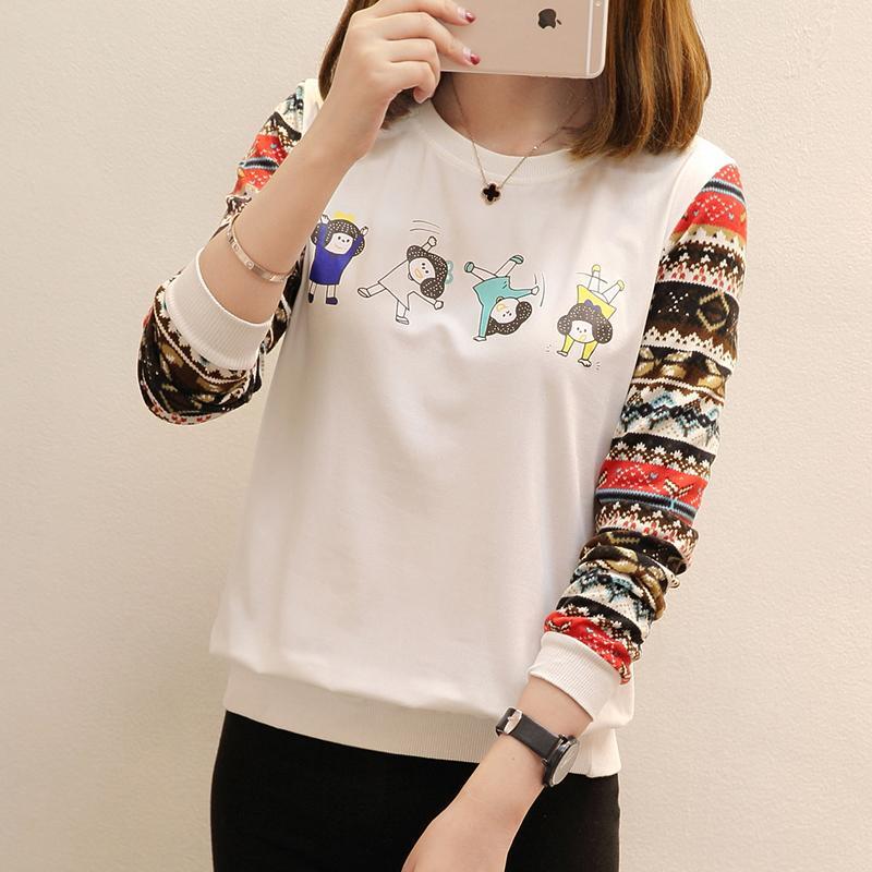 Camisetas de mujer Halajuku Otoño de gran tamaño suelta personaje de moda de manga larga impresa camisetas femeninas más el tamaño XXXL / 4XL