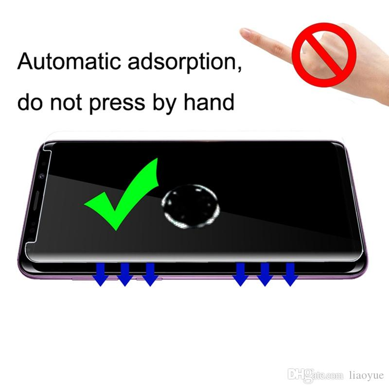 Black Screen Protector Protective 25 PCS for Galaxy S9 0.33mm 9H Surface Hardness 3D Curved Edge Anti-Scratch Full Screen HD Fully Adhesive Glass Screen Protector Color : Black Glass Film