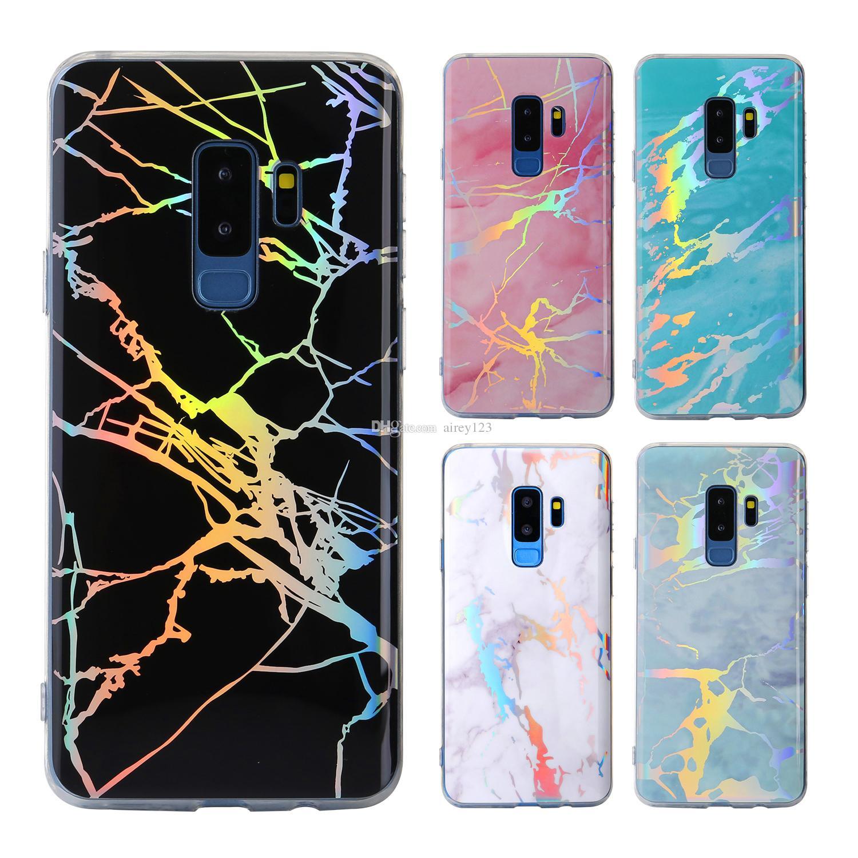 Luxe Laser couverture TPU Chrome cas en marbre pour iPhone XS X 6 6S 7 8 Plus Samsung Galaxy S8 S9 note 8/9