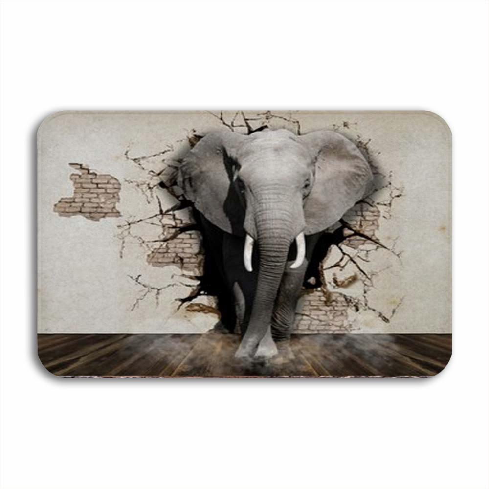 Vixm Elephant Coming Out Of The Wall Wall Paper 3D Rendering Welcome Door Mat Rugs Flannel Anti-slip Entrance Indoor Kitchen Bath Carpet