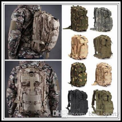 12 Couleurs 30L Randonnée Camping Sac Militaire Trekking Trekking Rucksack Sac à dos Camouflage Molle Rucksacks Sacs d'extérieur CCCA9054 50PCS