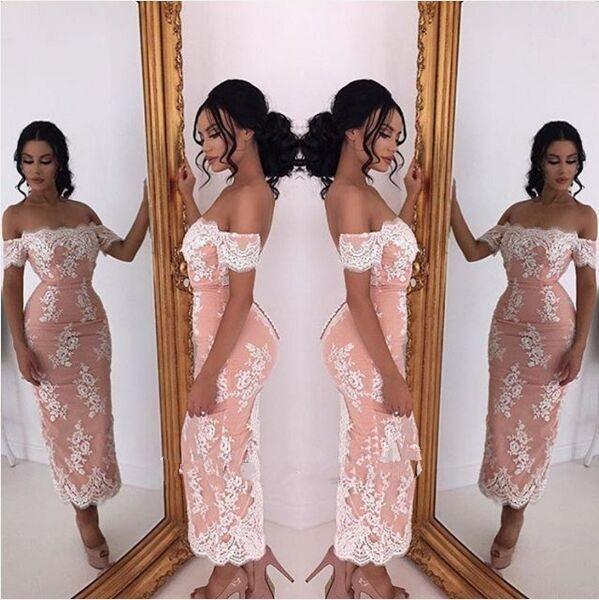 2019 Lace Tea-length Cocktail Dresses Party Dubai Arabic Style Off-shoulder Sheath Covered Button Short Prom Dresses