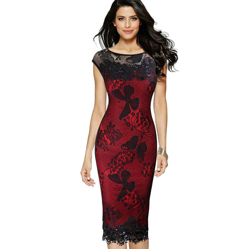 lcw Nice Womens Sexy Sequins Crochet Butterfly Lace Party Bodycon Evening Mother of Bride Special Occasion Dress