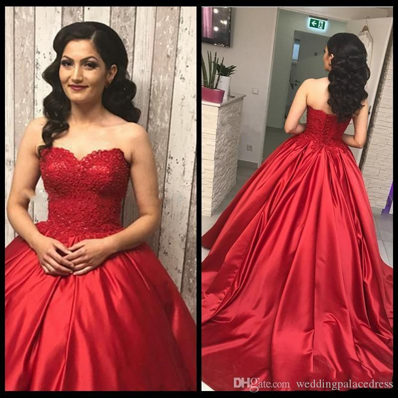 New Red Dress Lace Quinceanera Dresses Sweetheart Ball Gown Prom Dresses Custom Sweet 16 vestidos de quinceañera Evening Dresses
