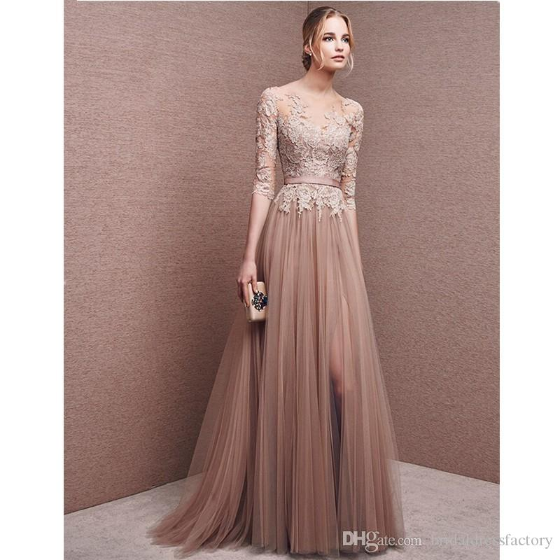 2018 New Dress For Champagne Formal Mother of the Bride Lace Dress Pant Suits Groom Dresses Gowns for Weddings with Sleeves