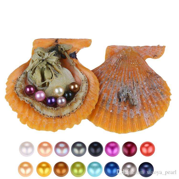 Free shipping 2018 round akoya oyster Jewelry 6-7 mm 25color Seawater Rainbow shells pearl oyster as mystery gift with Vacuum Package