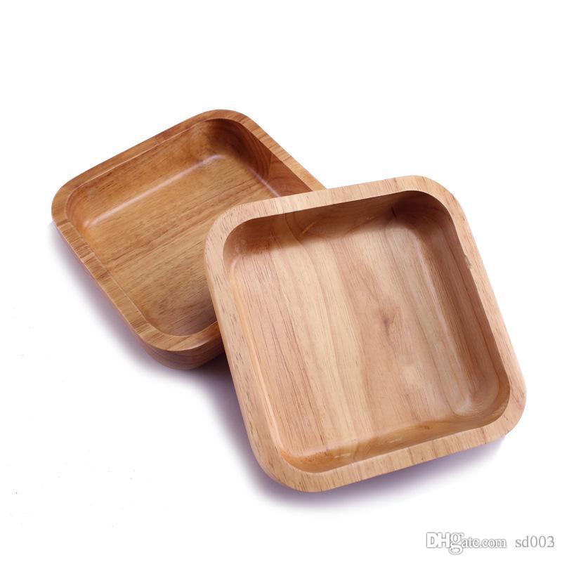 Коричневый квадрат натуральный деревянный шар многоразовые утолщаются салатницы Фруктовая еда салат посуда для домашней кухни Эко дружественных 38xy ZZ