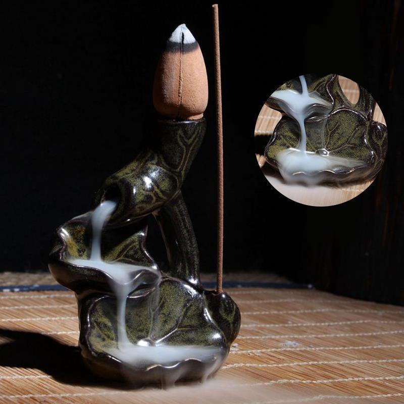 Ev Koku Standı Censer Tütsü Brülör Su Lily Backflow Tutucu Seramik Sır Tütsü Brülör Tutucu Ev Dekorasyon