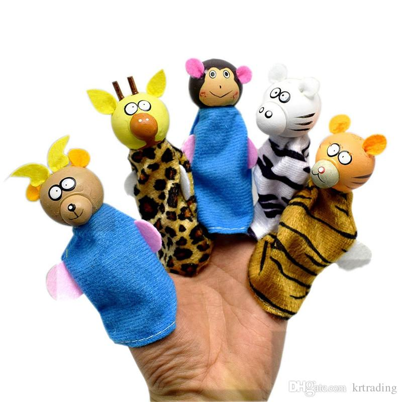kids Animals Finger Puppets toys wooden head cloth body sheep deer monkey zebra mice animals Hand Puppet toy Kids baby storytelling props