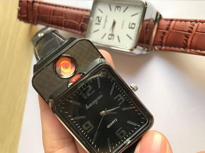 Los más nuevos deportes con cargo USB Lighter Relojes para hombres Casual Encendedores el consumo de cigarrillos a prueba de viento del cigarro de pulsera sin llama
