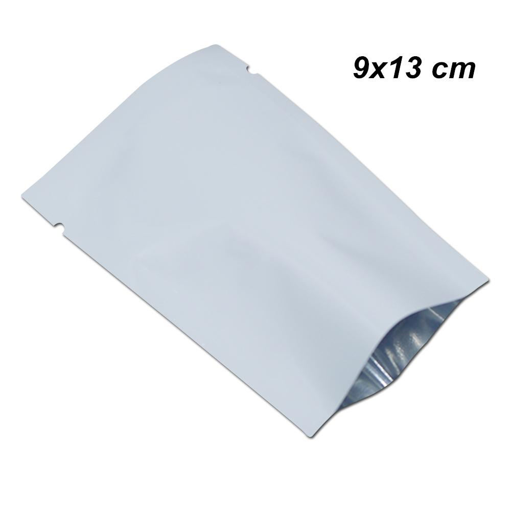 100 Pack 9x13 cm White Open Top Foil Mylar Flat Wraps Aluminum Foil Sample Giveaway Food Bags Tear Notch Vacuum Sealer Cookies Packaging