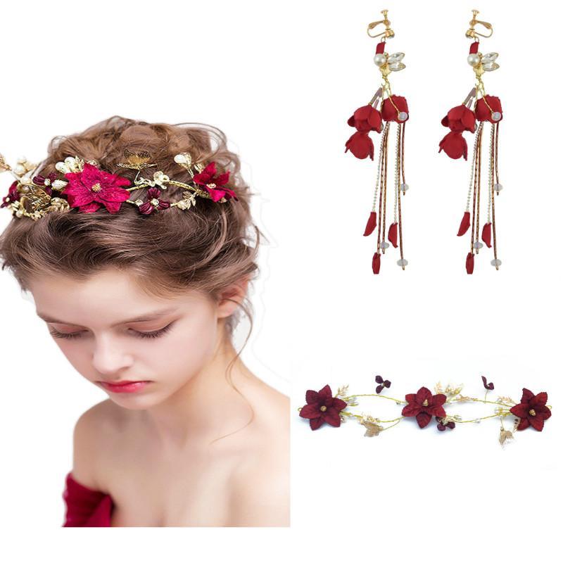 Kırsal Gelin Şarap Kırmızı Çiçek Gelin Düğün takı Seti Kadınlar Için Inci Kristal Kelebek Kafa Saç parça Küpe Headdress