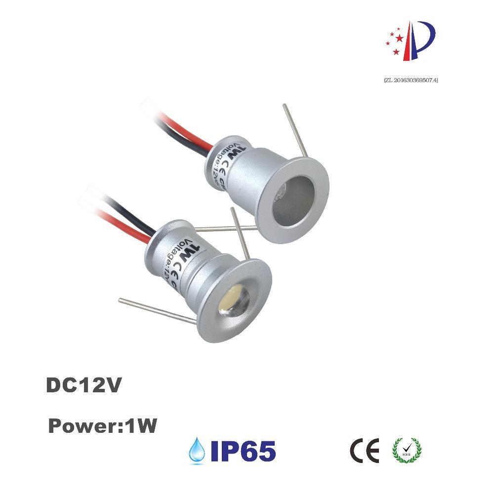 1W Mini Spot encastré, plafonnier à LED DC12V, découpage de 15 mm 30D / 120D petit downlight, lumière de décoration d'armoire 18pcs