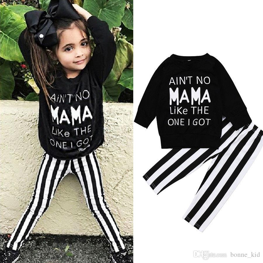Kid Baby Girl Letter Print Tops Striped Pants Trousers 2-piece set Outfits Mama Kids Girls Clothes Black White Long Sleeve Clothing 6M-4Y