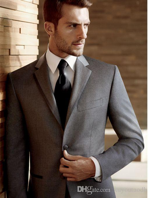 Handsome Custom Made Tailor Tuxedos Best Man Suits Grey 2018 Business Party Suits Bridegroom Groomsmen Wedding Suits For Man (Jacket+Pants)