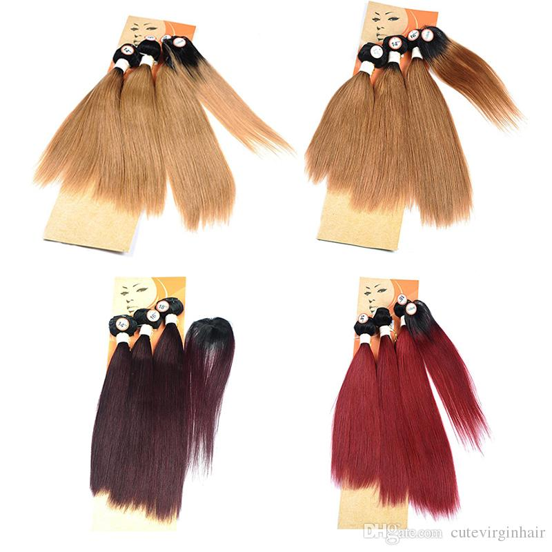 Straight Ombre Hair Extensions Brazilian Ombre Colored Human Hair Weave 3 Bundles With 1.5 Inch Round Top Closure Like Real Hair Whorl