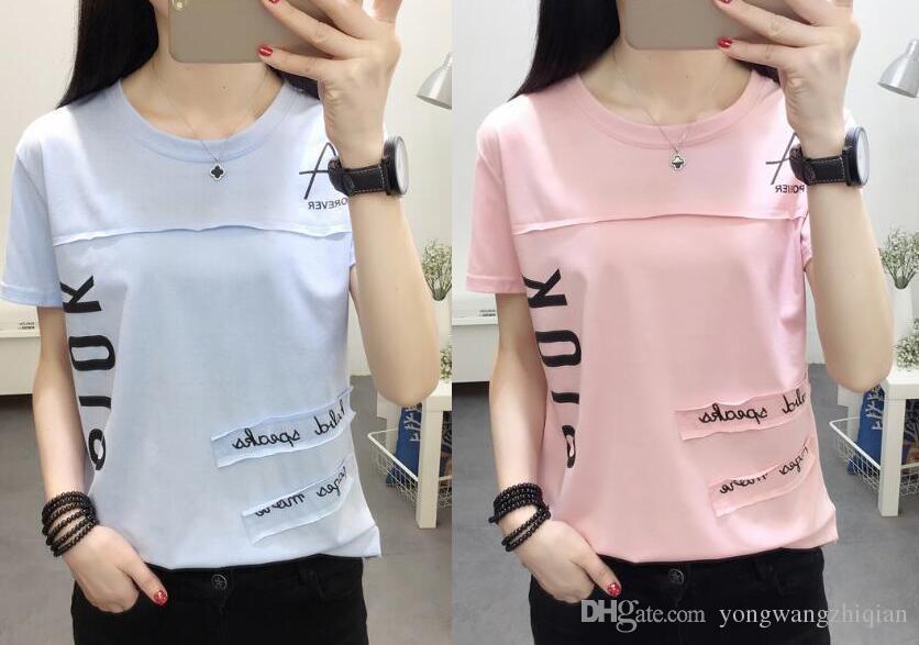 2018 новые футболки, женские короткие рукава, свободная летняя одежда, корейский алфавит, футболка с половиной рукава, одежда.