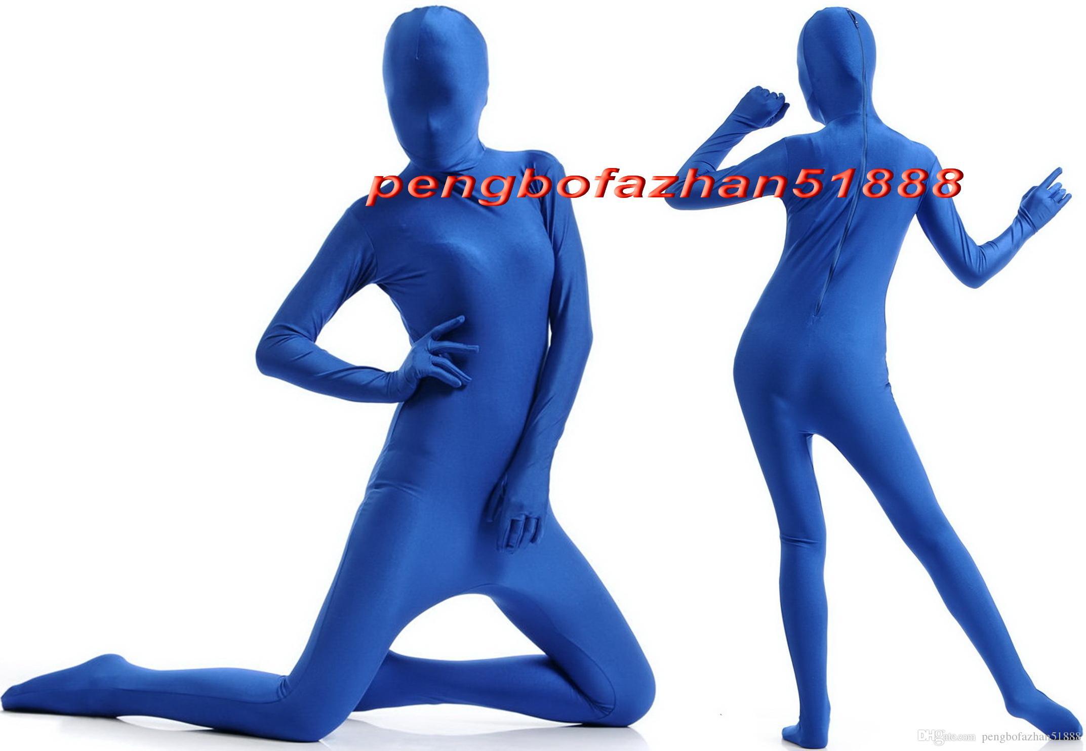 Unisex Tam Vücut Takım Kostümleri Kıyafet Yeni Mavi Lycra Spandex Takım Catsuit Kostümleri Unisex Seksi Tam Bodysuit Kostümleri Kıyafet P397