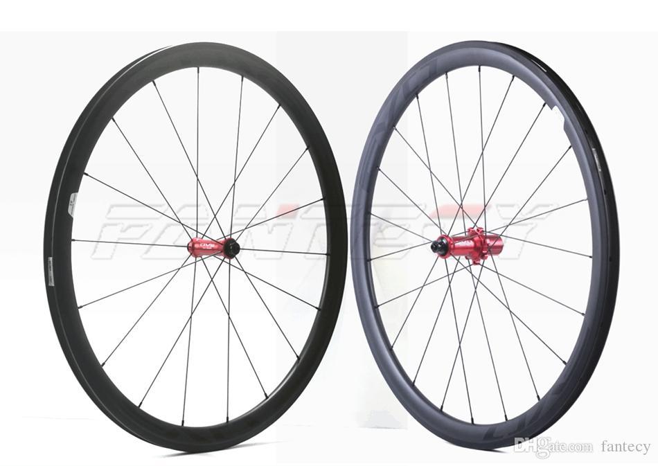 Evo 700c Road Bicycle Wheelset 38mm Profundidade 23mm Largura Clincher / Tubular com UD Matte Acabamento Carbono Wheelset com EVO Striaight Pull Hub